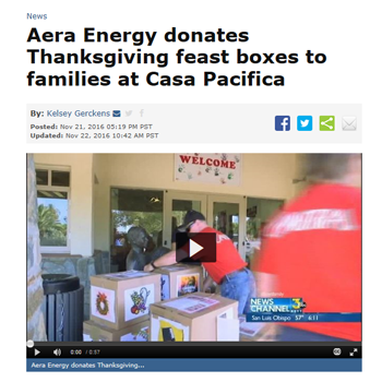 Aera Energy donates Thanksgiving feast boxes to families at Casa Pacifica