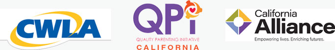 CWLA Logo, QPI - Quality Parenting Initiative Logo, California Alliance Logo